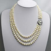 Fashionable popular natural white pearl Chains and necklaces