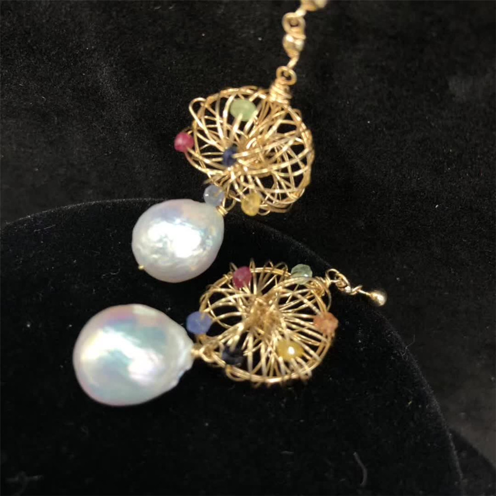 hand made fine jewelry factory wholesale fashionable 14k gold wrap natural white pearl gemstone pendant earring 1