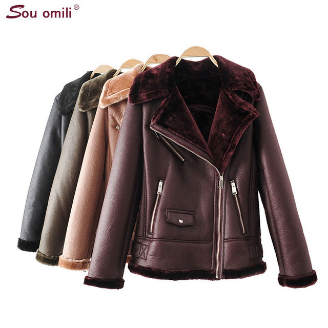 ef982f07bed Warm Fleece Faux Leather Jacket Women Shearling Coats Vintage Motorcycle  Overcoat Thicken Jacket chaqueta cuero mujer