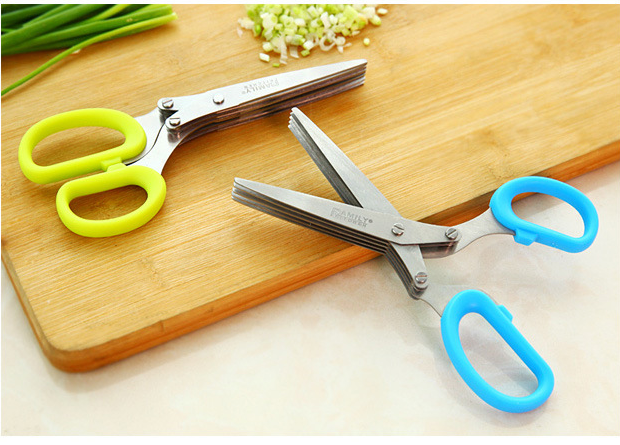 3 or 5 Layers Multi-functional Stainless Steel Kitchen Knives Scissors Sushi Shredded Scallion Cut Herb Spices Scissors