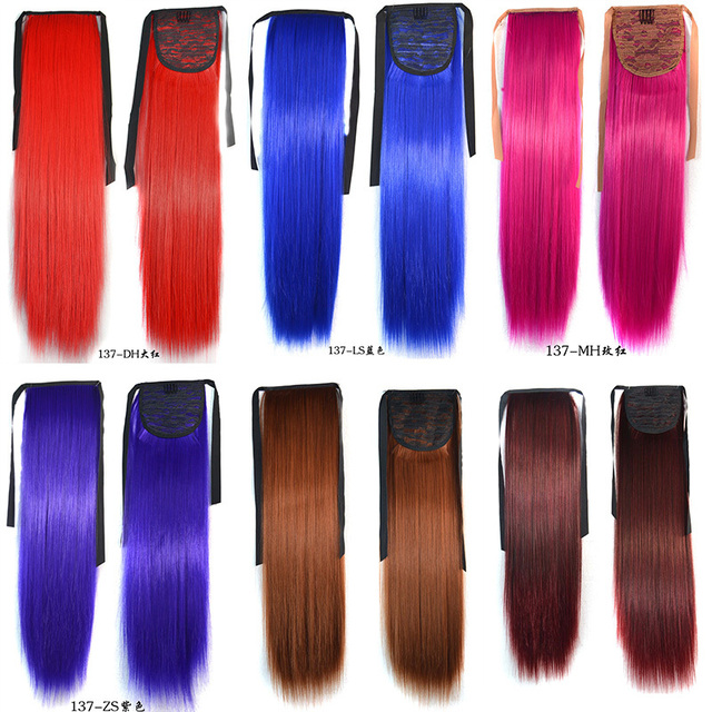 """11 Different Colors Ponytail Hairpieces 90G 22"""" Hair Pieces Buns Drawstring Ponytails Straight  Synthetic Hair Extension"""