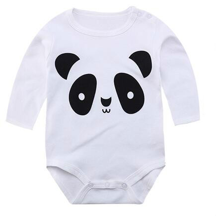New 2016 Panda Cute Baby Boy Romper Long Sleeve Cotton Jumpsuit Baby Cartoon Printed Rompers Newborn Baby Boy Girl Clothes white cutelee newborn soft cotton baby romper o neck costumes long sleeve baby girl boy rompers baby clothing ropa next baby jumpsuit