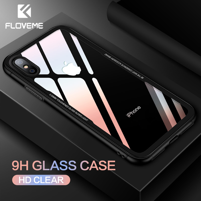 FLOVEME Tempered Glass Phone Case for iPhone X 10 , 0.7MM Protective Mobile Phone Cover Cases for iPhone 7 8 Plus 6 6s XS Max XR mobile phone