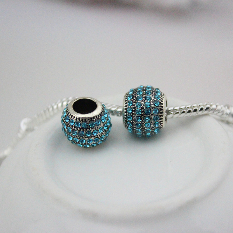 DGWfree shipping 12 colour Alloy Charm safety Bead Fits European Pandora Charm Bracelets & Necklaces