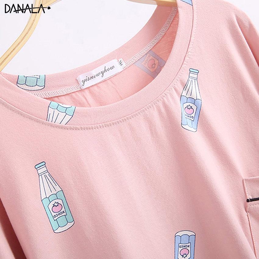 DANALA Female Cute Bottle Plus Size 5XL 100 Cotton Pajamas Sets Sexy Gauze Cotton Pink Pyjamas Women Sleepwear Pijamas Homewear in Pajama Sets from Underwear Sleepwears