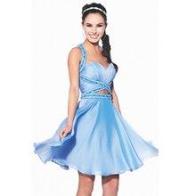 2015 schöne glamorous Homecoming kleider mit schatz-wulstige blau chiffon mini dame kleider für partei vestido de festa