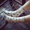 Chaplin cartoon character printing men socks  New Fashion Female Sock Retro cotton socks 5 pairs/lot