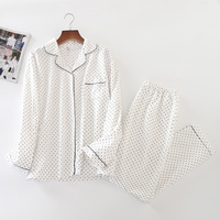 White Pajamas Women New Polka Dot Bordered Brushed Cotton 2 Pieces Set Long Sleeve Elastic Waist Lounge pyjamas S84692