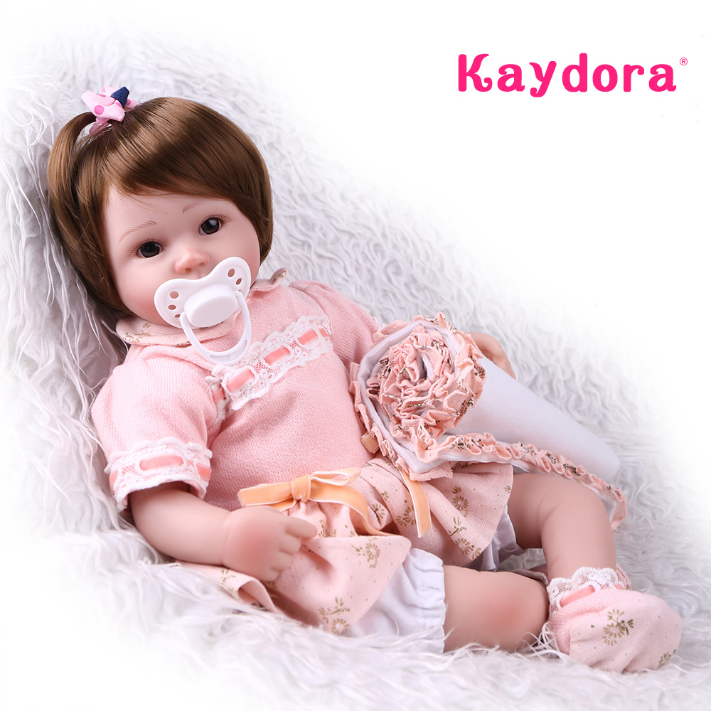 Kaydora Adorable 42 cm Soft Silicone Doll Lifelike Baby Dolls Realistic Reborn Baby Doll Girls Toys Kids Christmas Gift