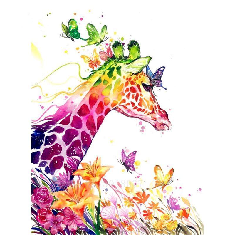 Diy Diamante Pintura Ponto Cruz Olhar da Borboleta Girafa