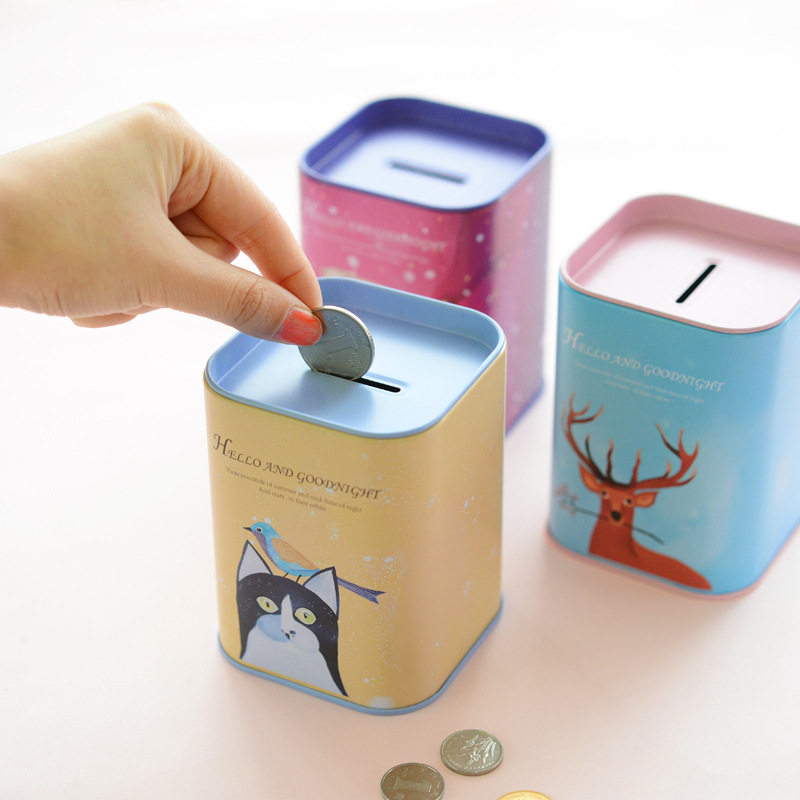 cute iron square bank saving cash coin money box children
