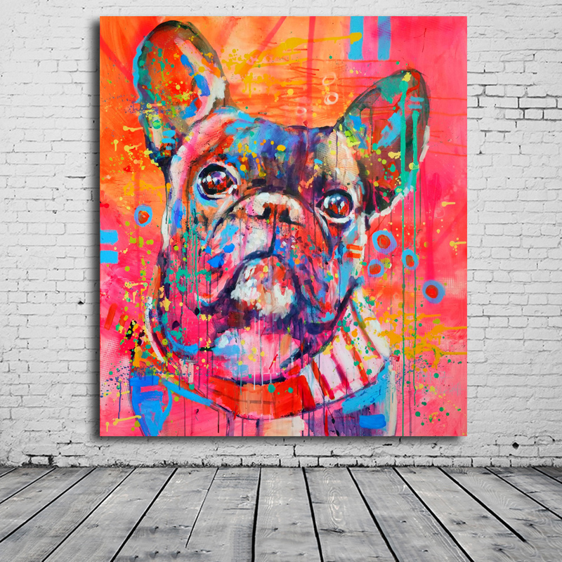 Lovely Cartoon Animal Canvas Art Print Painting Cute watercolor Dog Poster Wall Picture For Home Decoration Wall Decor