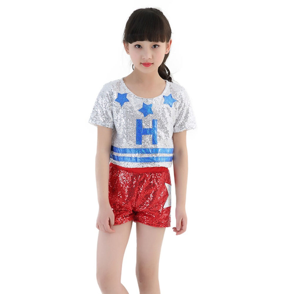 2pcs Kids Girls Sequin Street Dance Costume Hip Hop Fashion Clothing Set With Top Pants-in Clothing Sets from Mother & Kids on Aliexpress.com ...