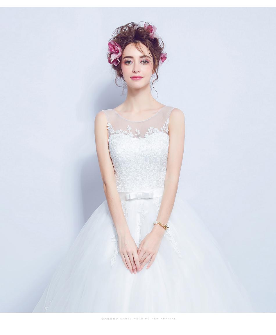Angel Wedding Dress Marriage Bride Bridal Gown Vestido De Noiva 2017 Lace, flowers, perspective, backless 612 12