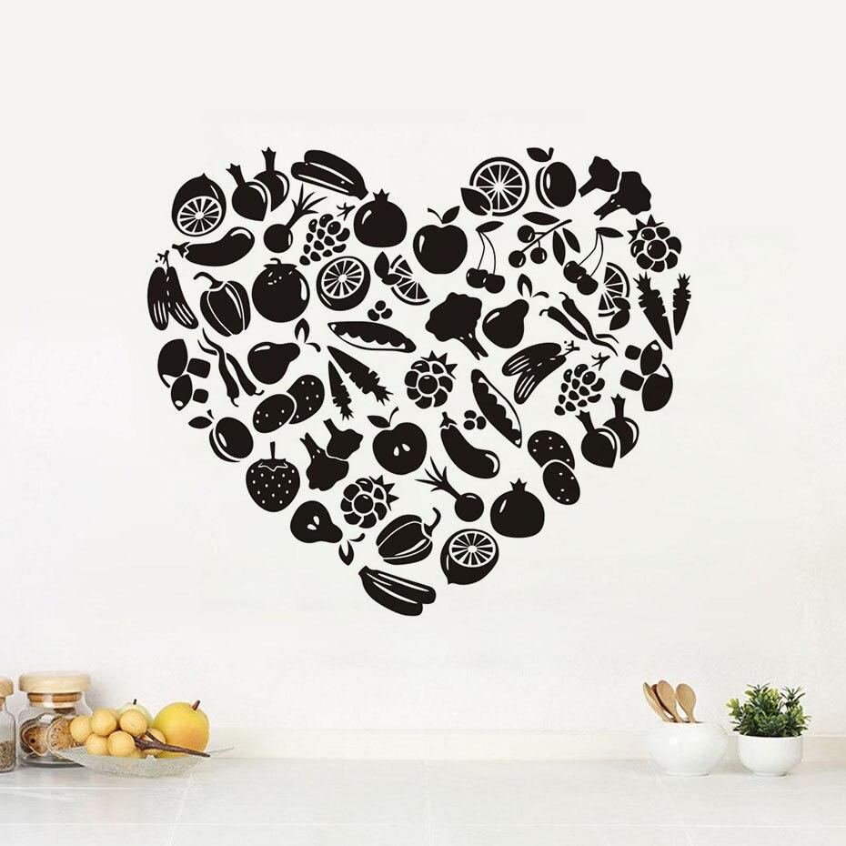 Kche Zubehr Wandaufkleber Herzfrmige Obst Und Gemse Kinder Wohnzimmer Home Decor Vinyl Wandtattoo Abnehmbare