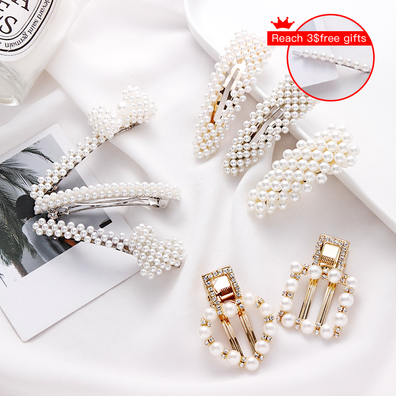 New Elegant Geometric Rhinestone Pearl Alloy Hairpin For Women And Girls Hair Clips Headband   Headwear   Barrettes Hair Accessories