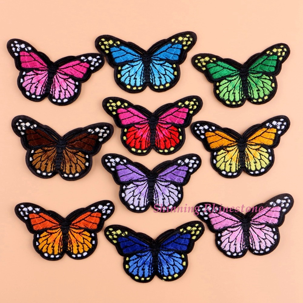 PINK MONARCH BUTTERFLY PATCH new IRON-ON EMBROIDERED APPLIQUE beautiful CRAFT