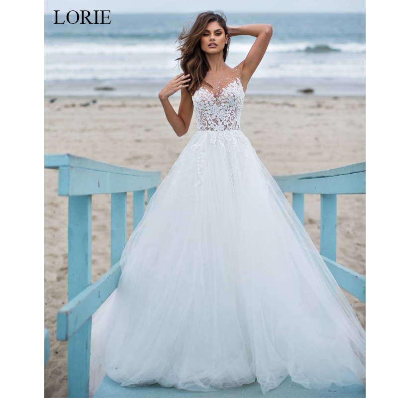 LORIE Ball Gown Wedding Dress 2019 Tulle And Lace Bride Dress White Ivory Vestido De Noiva Summer Illusion Wedding Dress