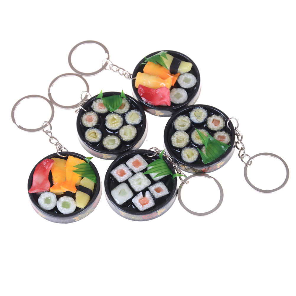 1Pc Cute Plastic Food Keychain Toys  Simulation sushi plate model key ring Box Gift Key Chain Unisex Pretend Play House Toy