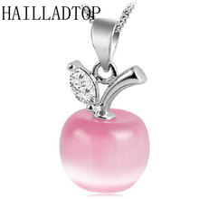 Fashion Luxury Cat's Eyes Jewelry Trendy Silver White Opal Apple Pendant Necklace Pendants Created Gemstone Jewelry