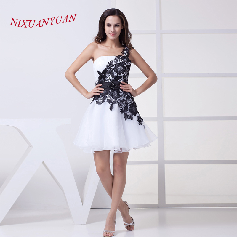 NIXUANYUAN 2017 White Organza Party   Dress   Short Black Lace   Cocktail     Dresses   2017 With Belt Beaded vestidos de   cocktail   Cheap