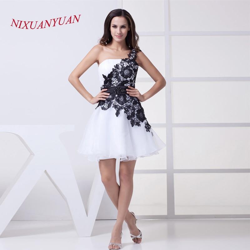 NIXUANYUAN 2017 robe de soirée en Organza blanc robes de Cocktail en dentelle noire courte 2017 avec ceinture robes de cocktail perlées pas cher