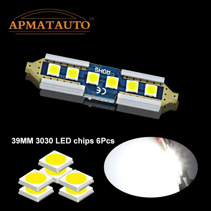 Pair White 39mm Licese Number Plate Light Bulb Canbus C5W LED 6000K White 12V For Ford Mondeo MK1 MK2 MK3