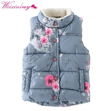 Baby Outerwear Baby Girls Coat Jackets Kid Girls Coat Outerwear Winter Vest Floral Printed Streetwear Fashion