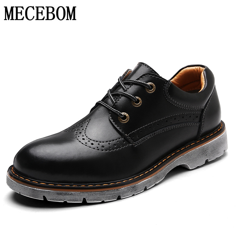 Men's Brogue leather shoes quality genuine leather oxford shoes for male lace-up casual shoes zapatos size 38-44 857m men s leather shoes new arrival lace up breathable vintage style casual shoes for male footwears zapatos size 38 44 8151m