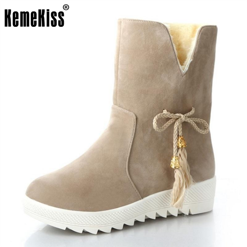 KemeKiss Size 35-40 Winter Shoes Women Thick Fur Inside Mid Calf Snow Boots For Women Thick Platform Warm Plush Flat Botas