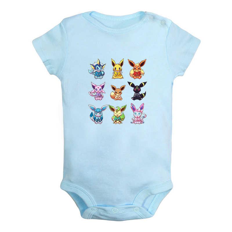 Dibujos Animados Pokemon Eevee familia Jolteon Vaporeon diseño bebé recién nacido niños niñas trajes mono estampado ropa de bebé