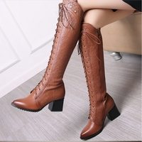 fanyuan Genuine Leather Boots Winter Women Knee boots Long boot Lace up western motorcycle boots Shoes botte femme botas