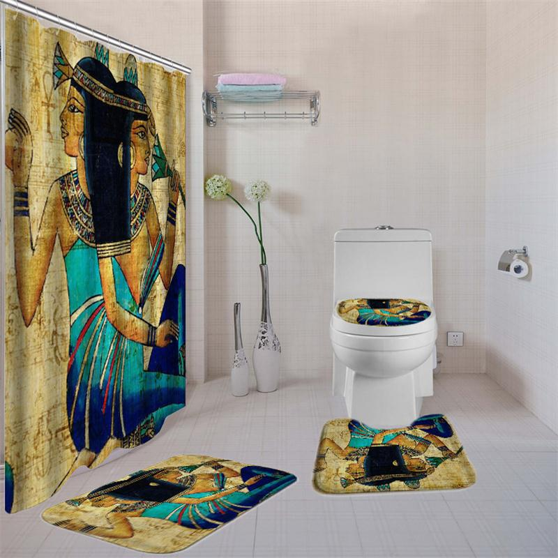 Women Printed Bathroom Curtain Set Made Of Non PEVA Material With Toilet Seat Cover 12