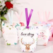 60pcs/lot New Colorful Pillow Box Ribbon Bow Present Carton Pouch Kraft Paper box Wedding Favors Gift Boxes Party Supply