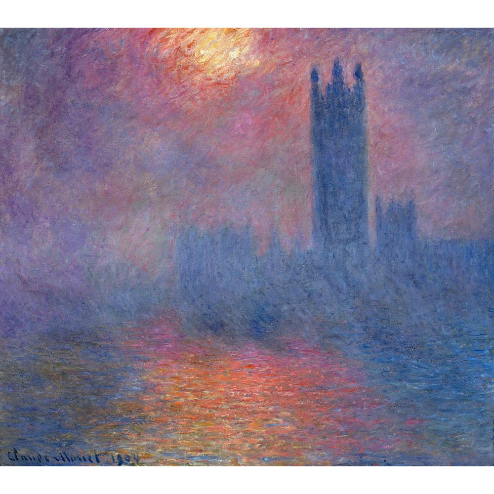 Houses of Parliament, London, Sun Breaking Through by Claude Monet Reproduction oil painting Canvas art Handmade High quality