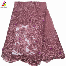 Luxury Fabric Gold African Lace Fabric High Quality Fashion Embroidery Tulle Lace French With Beaded For Wedding dress AMY689b