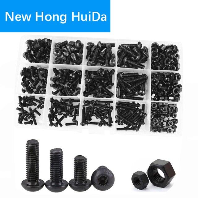 Portalámparas de botón hexagonal tornillo rosca métrica tuerca hexagonal aleación acero surtido Kit negro 10,9 clase M3 M4 M5