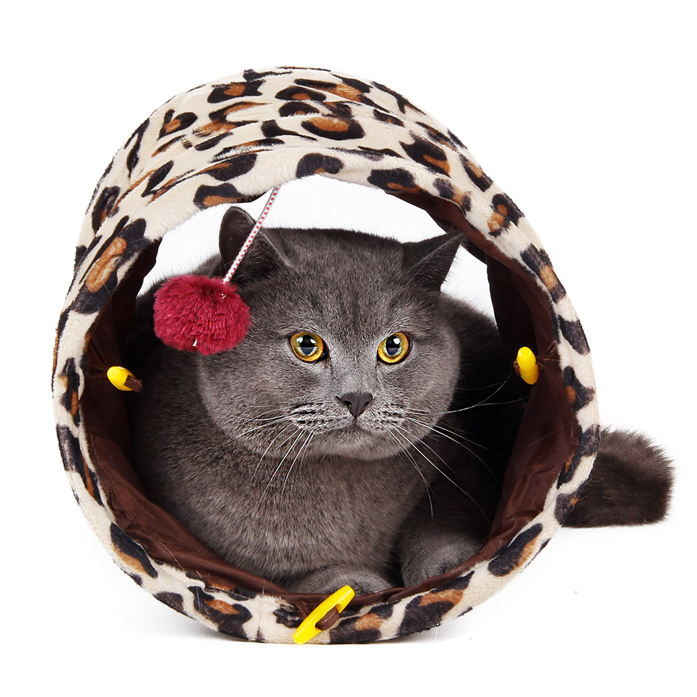 free shipping cat toys mini ultra short fashion leopard tunnel for
