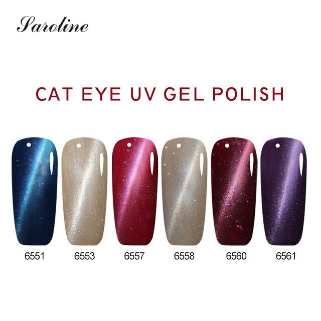 Saroline 3D Magnetic Colorful Cat Eye Nail Polish Soak Off UV French ...