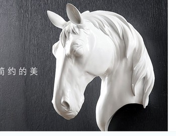 Crafts Arts Home horse head wall mural creative animal resin living room wall decoration bar stereo crafts personality statue