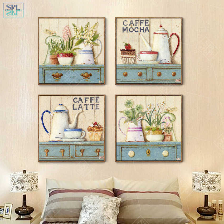 SPLSPL Nordic Mädchen Zimmer Dekor Hand Gezogen Dekorative Bild Kaffee Latte Aquarell Blume Wand Kunst Leinwand Malerei für Küche