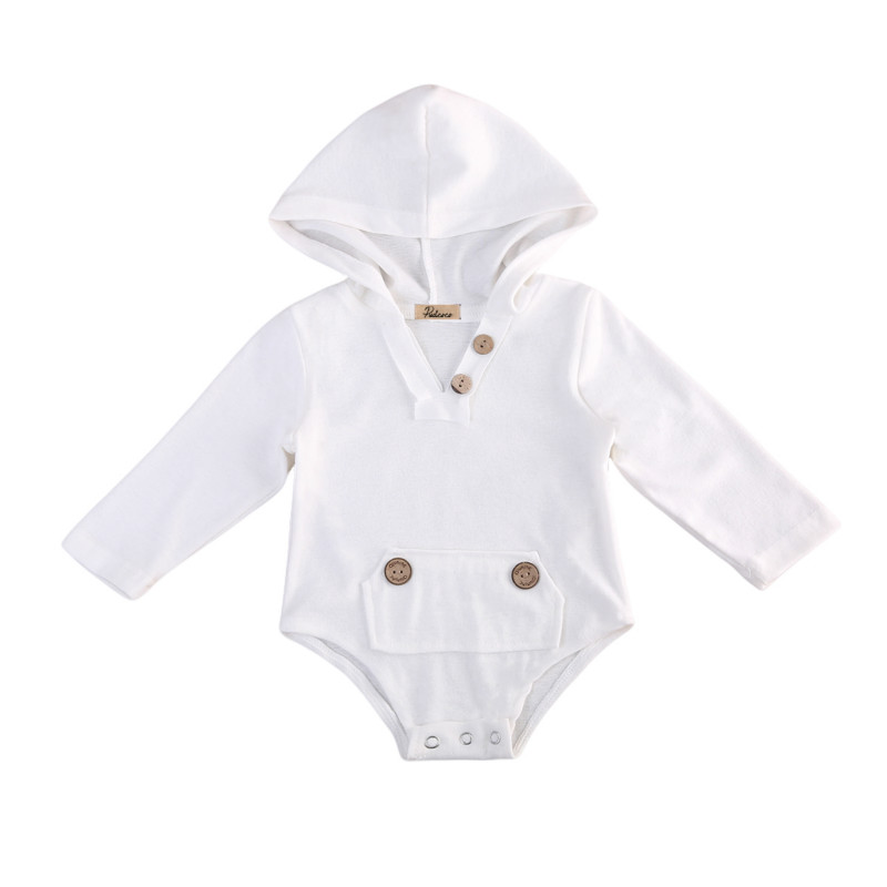 Baby Boys Girls Infant Newborn Cotton Knitted Buttons Long Sleeve Romper Jumpsuit Kids One-Piece Hooded Clothes Tops Outfits New creative roman numbers round style wall clock wood color 1 x aa