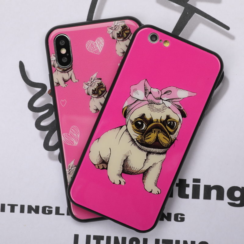 Glass Cover For iphone 6 Case <font><b>Lovely</b></font> Cartoon Clear Dog For iphone 7 6 6S 8 Plus X Case Girl style Tempered Glass Phone Cases