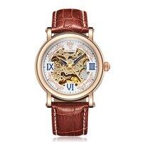 Erkekler Otomatik Kendini Rüzgar Mekanik Gül Altın Gümüş Siyah Beyaz Deri Kayış Casual İskelet bilek saatler erkekler için OUYAWEI Marka|Mekanik Saatler|Saatler -
