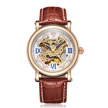 Men Automatic Self Wind Mechanical Rose Gold Silver Black White Leather Strap Casual Skeleton wristwatches for men OUYAWEI Brand coupon for wholesale buyer price good quality skeleton luxury genuine leather rose gold mechanical automatic self wind men watch