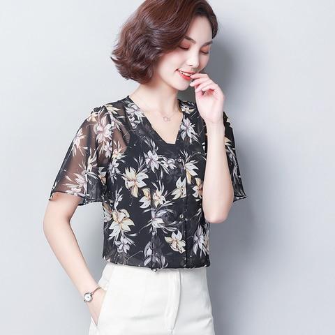 2019 Fashion Women Chiffon Blouse Top Femme Print Shirt Mujer V-neck Summer Womens Shirts Flare Sleeve Elegant Feminine Blouses Karachi