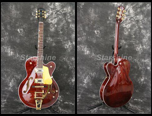 Starshine corps creux guitare électrique YL-JZ70 BB pont or matériel flammé érable haut Grover accordeur L5 Style bons micros