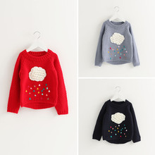 2018 New Style Autumn Spring Kids Sweater Knitted Thread Children Pullover Shirt Baby Girl Casual Cloud Clothes 3 Colors