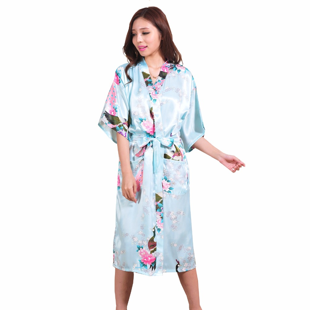 Hot Sale Light Blue Female Silk Rayon Robe Chinese Style Floral Bath Gown Summer Casual Nightgown Oversize XXXL S001-K