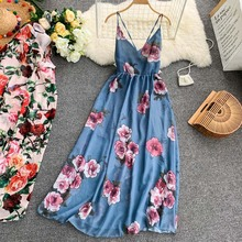 NiceMix 2019 summer Women Floral Print Long Dress Summer Sexy V-neck Backless Dresses Female Elegant Bohemian Vestido